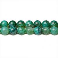 Зелёный Огненный Агат, Натуральный камень, На нитях, бусины 8 мм, Круглые, Отверстие 1 мм, кол-во: 48 шт/нить