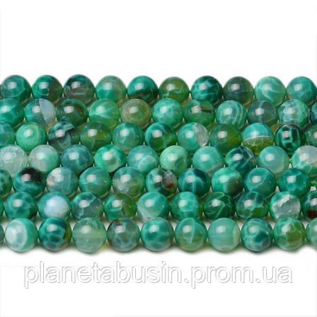 8 мм Зелёный Огненный Агат, CN342, Натуральный камень, Форма: Шар, Отверстие: 1мм, кол-во: 47-48 шт/нить, фото 2