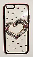 Чехол на Айфон 6/6s Хром 3D ТПУ Сердечко с камнями Прозрачный Розовое Золото