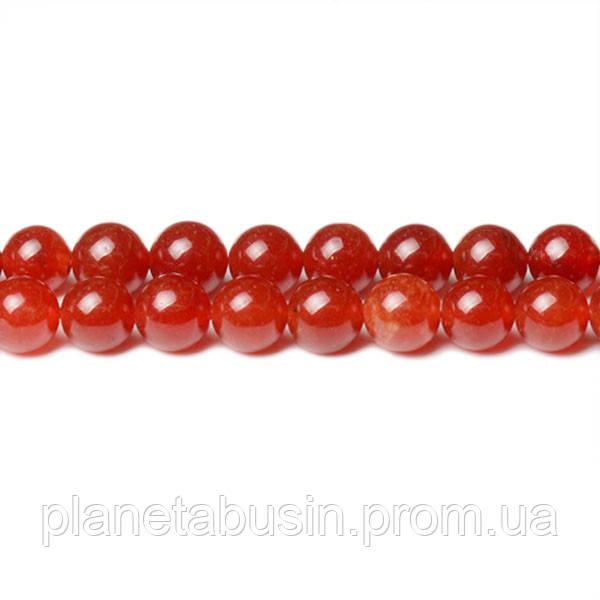 8 мм Красный Нефрит, CN345, Натуральный камень, Форма: Шар, Отверстие: 1мм, кол-во: 47-48 шт/нить