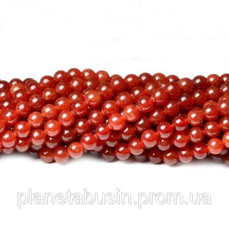 8 мм Красный Нефрит, CN345, Натуральный камень, Форма: Шар, Отверстие: 1мм, кол-во: 47-48 шт/нить, фото 2