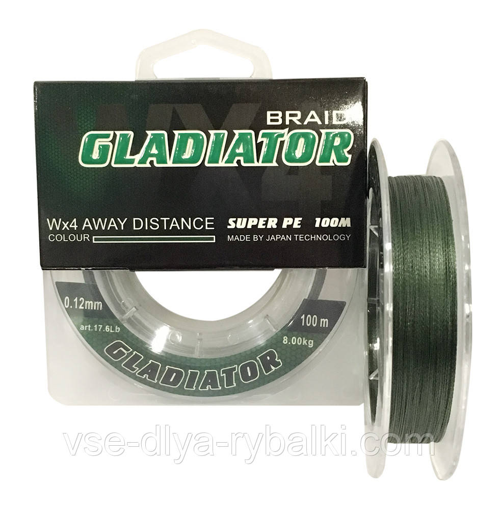 Шнур плетеный Gladiator 100m (зеленый) 0.12 mm