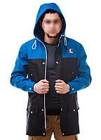 Мужская осенняя демисезонная парка (куртка) Ястребь, электрик-черная (есть опт)