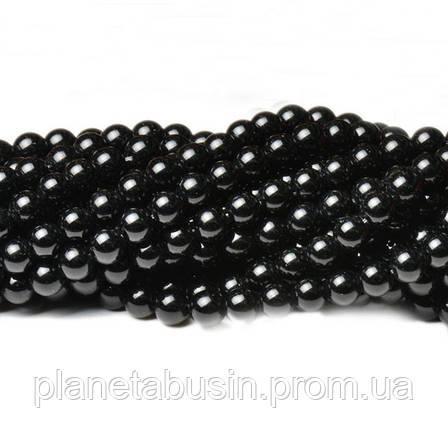 8 мм Чёрный Нефрит, CN348, Натуральный камень, Форма: Шар, Отверстие: 1мм, кол-во: 47-48 шт/нить, фото 2