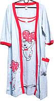 Комплект 2 в 1 халат и ночная рубашка Турция размер S,M,L