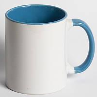 Кружка цветная голубая с вашим фото подарок