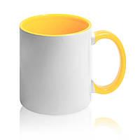 Кружка цветная желтая с вашим фото подарок