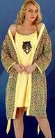 Комплект 2 в 1 халат и ночная рубашка Турция размер 2XL(48-50), 3XL(50-52)
