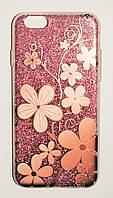 Чехол на Айфон 6/6s Пластик+силикон Блестки Цветочный узор Розовый