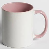 Кружка цветная розовая с вашим фото подарок