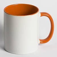 Кружка цветная оранжевая с вашим фото подарок