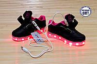 Кроссовки со светящей LED подошвой зарядка USB кабелем 26, 27, 28, 39, 30, 31 для девочки