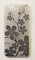 Чехол на Айфон 6/6s Пластик и силикон Блестки Цветочный узор Серебро