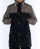 Мужская осенняя демисезонная парка (куртка) Ястребь, серо-черная (есть опт)