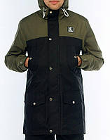 Мужская осенняя демисезонная парка (куртка) Ястребь, черно-оливковая (есть опт)