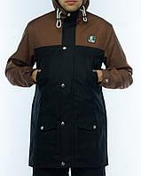 Мужская осенняя демисезонная парка (куртка) Ястребь, коричнево-черная (есть опт)
