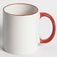 Чашка с цветным ободком и ручкой с вашим фото подарок