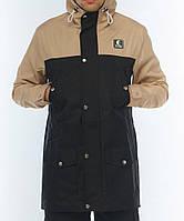 Мужская осенняя демисезонная парка (куртка) Ястребь, бежево-черный (есть опт)