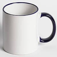 Чашка с цветным ободком и ручкой синяя с вашим фото подарок