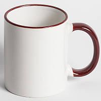 Чашка с цветным ободком и ручкой бордовая с вашим фото подарок