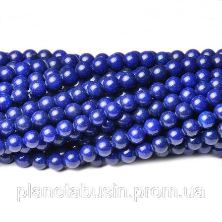 8 мм Синий Нефрит, CN350, Натуральный камень, Форма: Шар, Отверстие: 1мм, кол-во: 47-48 шт/нить, фото 2