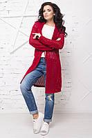 Стильный женский длинный кардиган сетка с капюшоном, 44-50
