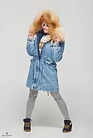 Стильная джинсовая женская парка П-31 зимняя., фото 1