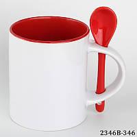 Кружка цветная красная с ложкой цилиндр с вашим фото