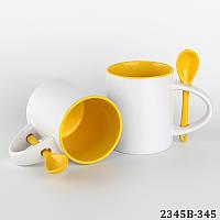 Кружка цветная жёлтая с ложкой цилиндр с вашим фото