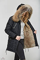 Стильная женская куртка парка К-51 с натуральной меховой опушкой., фото 1