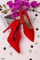 Оригинальные женские туфли красные на шпильке с полузакрытым верхом эко замша