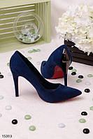Элегантные женские туфли синие на шпильке с острым носом эко- замш