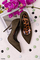 Туфли женские хаки на шпильке с леопардовой стелькой эко замша
