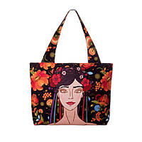 Текстильная сумка XYZ Орнамент Украинка брюнетка