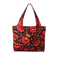Текстильная сумка XYZ Орнамент Хохлома чёрная