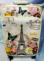 Чемодан виниловый Senlinbao Париж 2421-70 большой кофейный