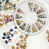 Стразы двухцветные для дизайна ногтей в карусели