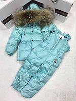 Комбинезон раздельный пуховый зимний для девочки Moncler (мята).