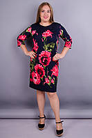 Арина Отто принт. Нарядное платье больших размеров. Цветок синий.