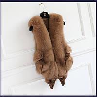Женская меховая жилетка. Натуральный мех лисы. Модель 63106.
