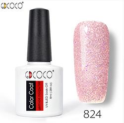 Гель-лак GDCOCO 8 мл, №824 (нежно розовый с блесточками)