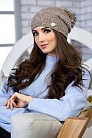 Женская вязаная шапка с натуральным бубоном Арианда в разных цветах