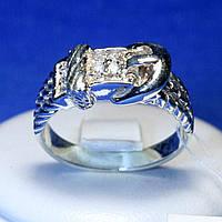 Серебряное кольцо с цирконием Ремень БР 1