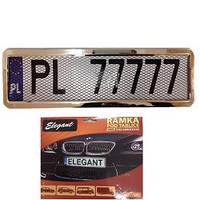 Рамка номера нержавейка Elegant 100 585  сетка (1шт)