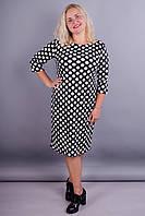 Арина француз принт. Платье в горошек для дам с пышными формами. Горох.