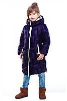 Стеганое Зимнее  полупальто с шарфом в комплекте для девочек 116-158р