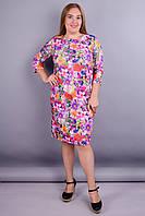 Арина француз принт. Повседневное платье плюс сайз. Розовый цветок.