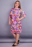 Арина француз принт. Повседневное платье супер сайз. Розовый цветок.