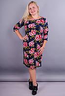 Арина француз принт. Платье нарядное для дам супер сайз. Цветок розовый на синем.