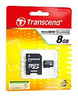 Карта памяти Transcend 8 GB microSDHC class 4 + SD Adapter TS8GUSDHC4 оригинал Гарантия!